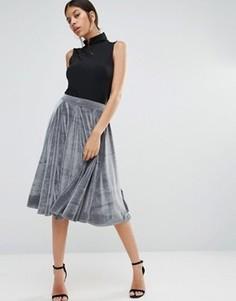 Бархатная юбка миди Boohoo - Серый