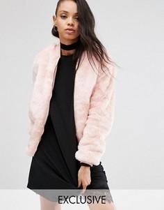Широкая куртка-пилот из искусственного меха Story Of Lola - Розовый