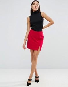 Креповая мини‑юбка с разрезами ASOS - Красный