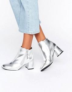 Ботильоны цвета металлик на блочном каблуке New Look - Серебряный