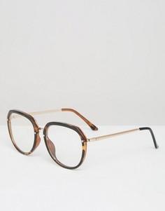 Большие очки в черепаховой оправе с прозрачными стеклами Jeepers Peepers - Коричневый
