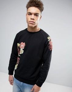 Свитшот с цветочным принтом Threadbare - Черный