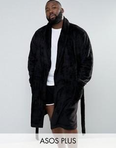 Флисовый халат с шалевым воротником ASOS PLUS - Черный