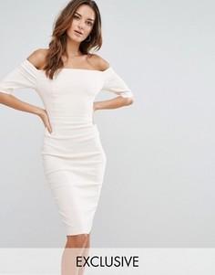 Платье-футляр с открытыми плечами и вставками Vesper - Розовый