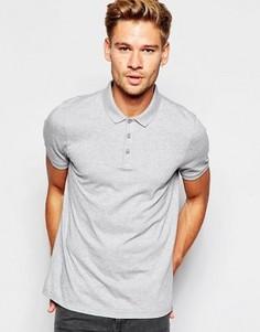 Серая меланжевая футболка-поло ASOS - Серый