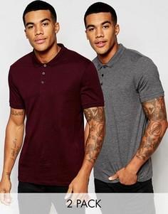 Комплект из 2 трикотажных футболок-поло (серая/бордовая) ASOS - СКИДКА - Мульти