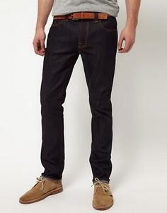 Зауженные джинсы из сухого органического денима со строчкой Nudie Jeans - Синий