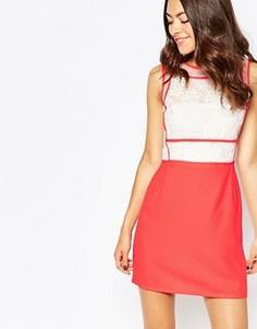 Платье с кружевной вставкой в цветочек Jovonna Premier So Little Time - Оранжевый