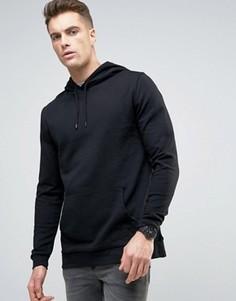 Черное удлиненное худи ASOS - Черный
