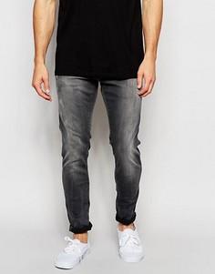 Серые состаренные суперузкие джинсы стретч G-Star Defend Slander - Серый