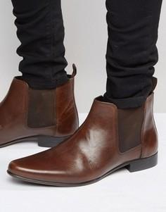 Коричневые кожаные ботинки челси с петлей на заднике ASOS - Коричневый