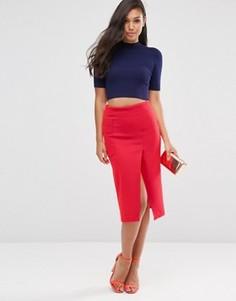 Неоновая юбка с запахом и большими карманами ASOS - Розовый