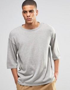Серая меланжевая оversize-футболка прямого кроя ASOS - Серый