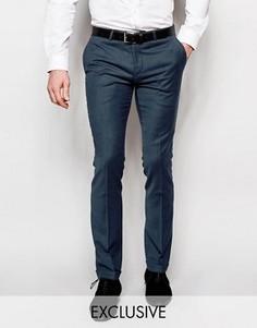 Супероблегающие брюки с отворотами Noose & Monkey - Синий