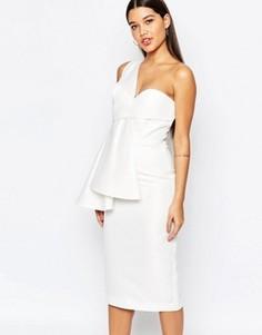 Платье миди на одно плечо AQ/AQ Tosso - Кремовый