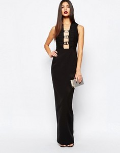 Платье-футляр макси с декольте и металлической отделкой AQ/AQ Climax - Черный