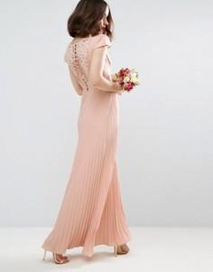 Платье макси с кружевной спинкой ASOS WEDDING - Бежевый