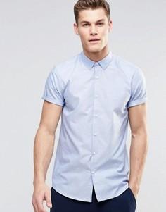 Синяя оксфордская рубашка классического кроя с короткими рукавами ASOS - Синий