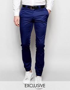 Хлопковые супероблегающие брюки с манжетами Noak - Синий