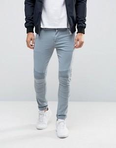 Голубые супероблегающие джинсы с отделкой в байкерском стиле ASOS - Синий