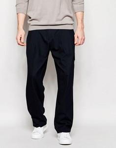 Строгие синие брюки из твида с широкими штанинами ASOS - Темно-синий