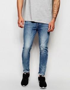 Светлые состаренные суперузкие джинсы стретч G-Star Type C 3D - Синий