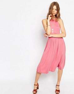 Платье миди с завышенной талией ASOS - Розовый