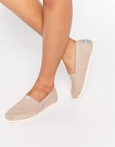 Классические парусиновые туфли серого цвета на плоской подошве TOMS - Серый