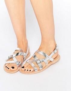 Серебристые кожаные сандалии Hudson London Anita - Серебряный