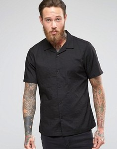 Мятая классическая рубашка с лацканами и короткими рукавами ASOS - Черный