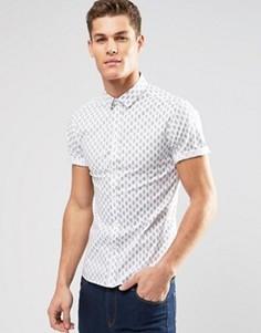 Рубашка скинни с принтом пейсли ASOS - Белый