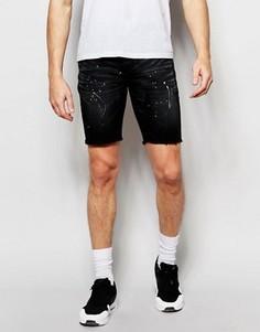 Джинсовые шорты с брызгами краски Heros Heroine - Черный