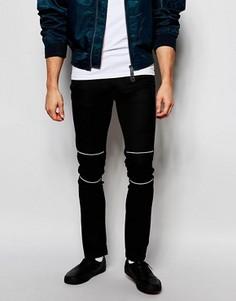 Зауженные строгие брюки с байкерской отделкой ASOS - Черный