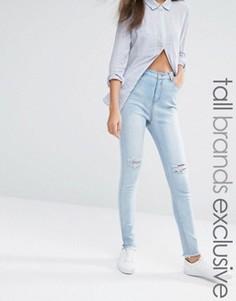 Суперзауженные джинсы с рваными коленями и эффектом кислотной стирки Liquor & Poker Tall - Синий