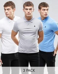 3 футболки-поло из пике (серый/белый/синий) ASOS - СКИДКА 17 - Мульти