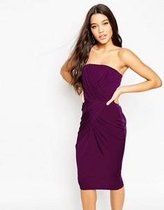 Платье-бандо с асимметричным низом ASOS - Красный