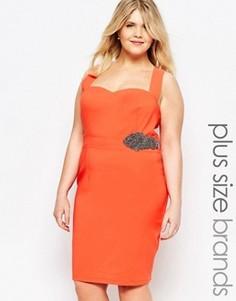 Облегающее платье с декольте Little Mistress Plus - Розовый