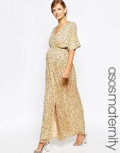 Платье-кимоно макси для беременных с пайетками ASOS Maternity - Розовый