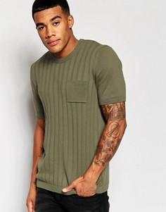 Трикотажная футболка в рубчик ASOS - Зеленый
