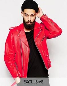 Красная кожаная байкерская куртка Reclaimed Vintage Inspired - Красный