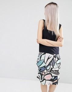 Платье с абстрактным принтом из 100% шелка ASOS WHITE - Мульти