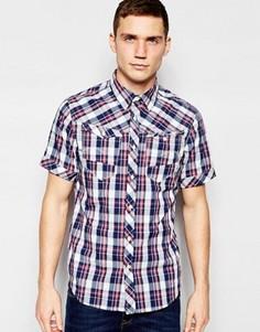 Клетчатая рубашка с короткими рукавами в стиле вестерн G-Star Arc 3D - Синий