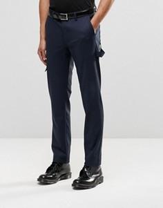 Темно-синие строгие брюки скинни с карманами ASOS - Темно-синий