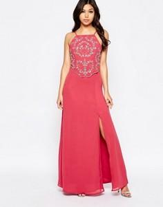 Платье макси с отделкой Maya - Розовый