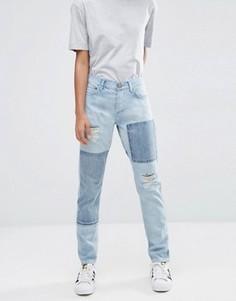 Голубые джинсы бойфренда в стиле пэчтворк с заниженной талией ASOS Brady - Синий