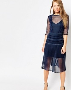 Моделирующее платье с плиссированной юбкой и кружевом Body Frock Louisa - Темно-синий