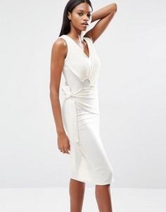 Платье миди в рубчик с запахом на завязке и кольцом Lavish Alice - Белый