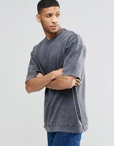 Oversize‑свитшот в рубчик ASOS - Серый