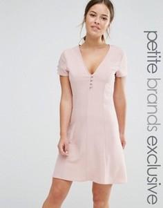 Короткое приталенное платье на пуговицах с короткими рукавами Alter Petite - Розовый