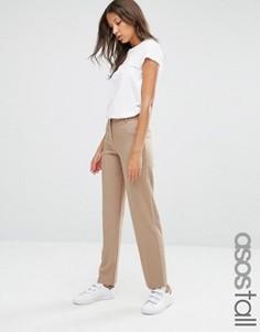 Зауженные брюки с контрастной окантовкой ASOS TALL - Бежевый